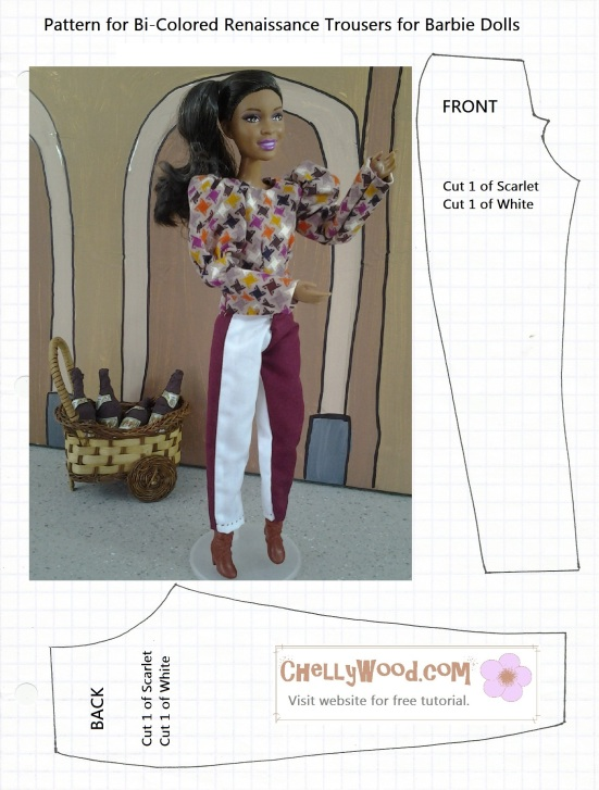 Free to Download Pants Pattern fits Barbie Dolls