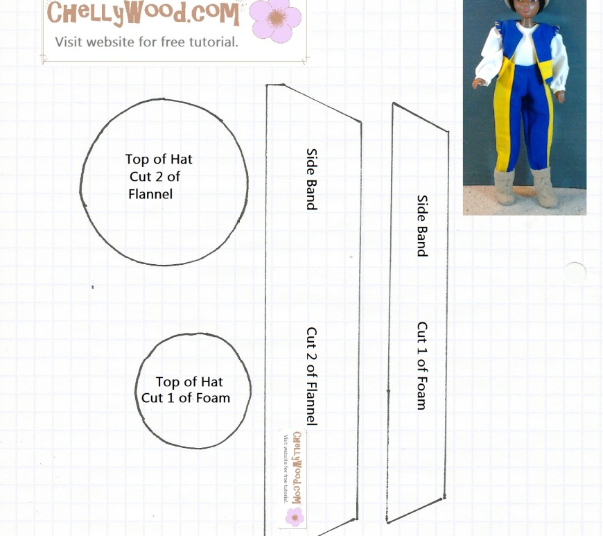 Printable Hat Pattern Fits Barbie, Ken, Momoko, World of Love Dolls (Shown Here), and Others