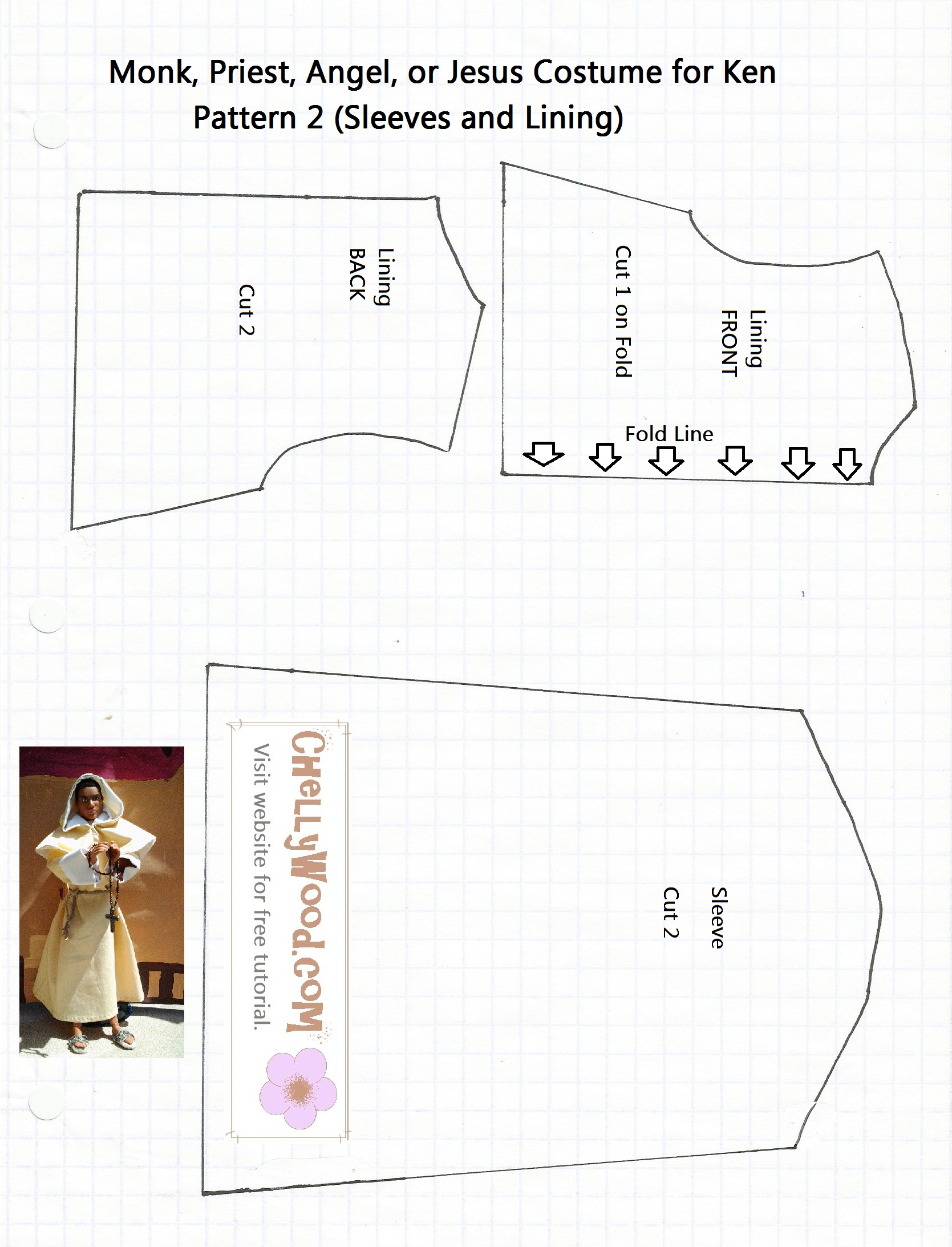 Free printable barbie doll clothes patterns chelly wood pattern 2 for monks robe jeuxipadfo Gallery
