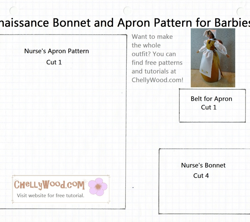 Bonnet and Apron Pattern for Barbie Dolls Free Printable Download