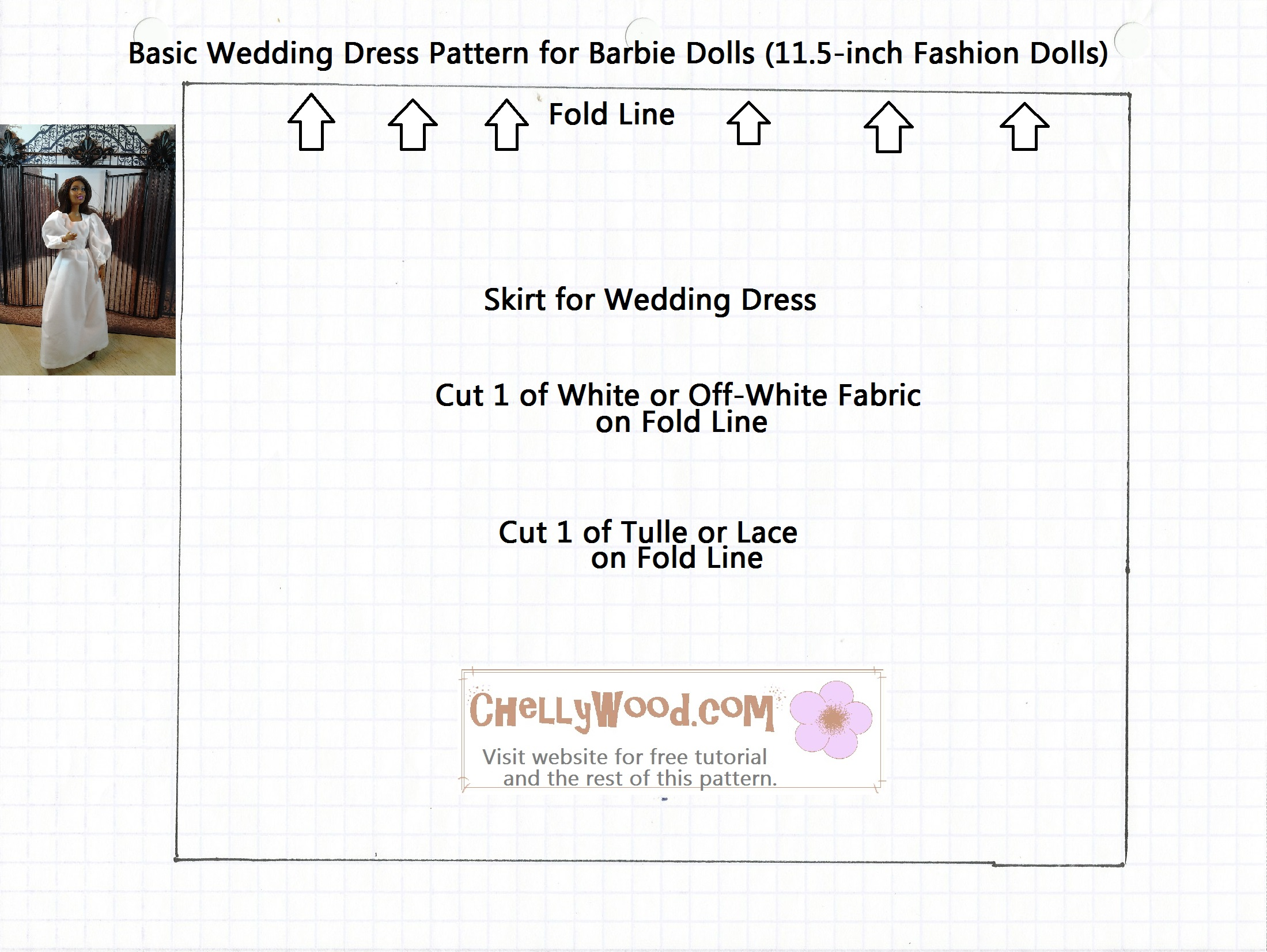 Free sewing patterns for fashion dolls -  Dress Skirt Pattern