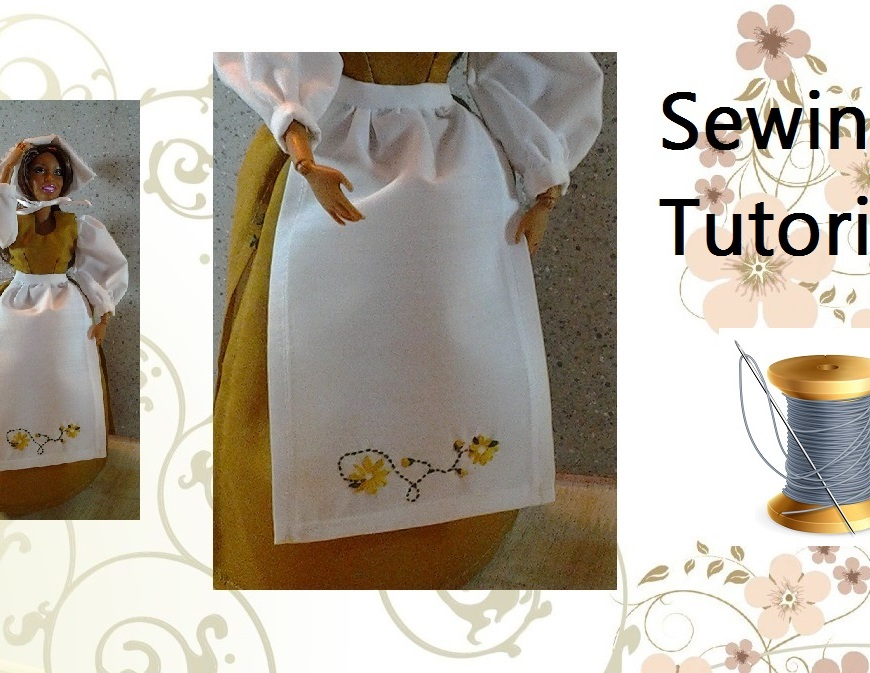 Image of Barbie Sewing Tutorial for Making an Apron for Barbies
