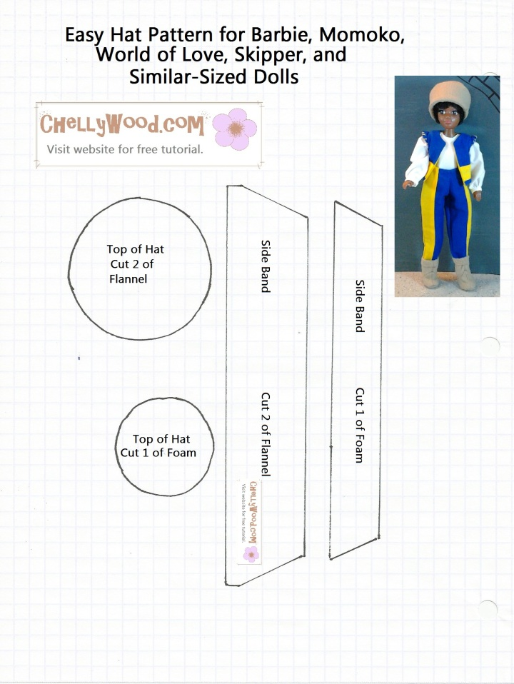 Pattern for sewing a hat to fit Barbie, Momoko Dolls, World of Love dolls, or Skipper