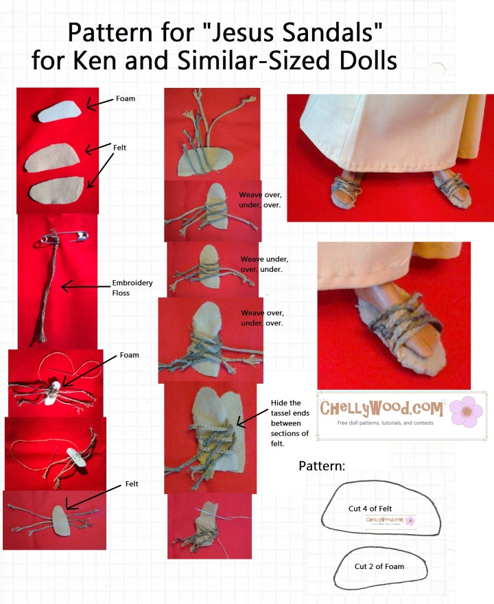 Jesus-style sandals pattern and tutorial for a Barbie and Ken version of Romeo and Juliet