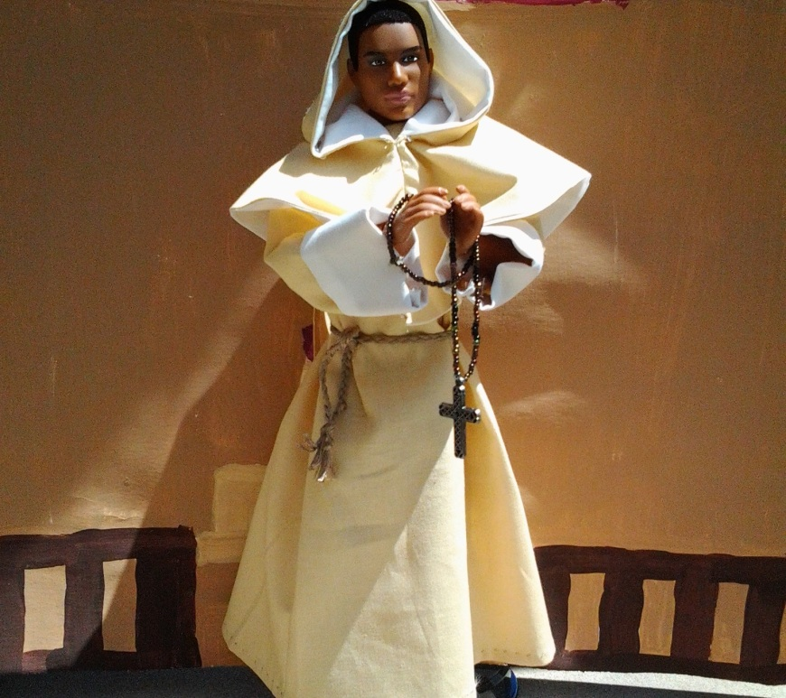 Image of Ken doll dressed as a monk