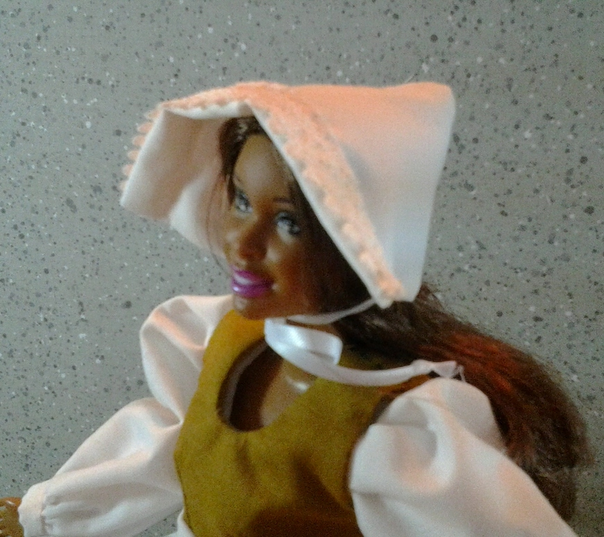 Image of Barbie doll in Pilgrim hat and costume