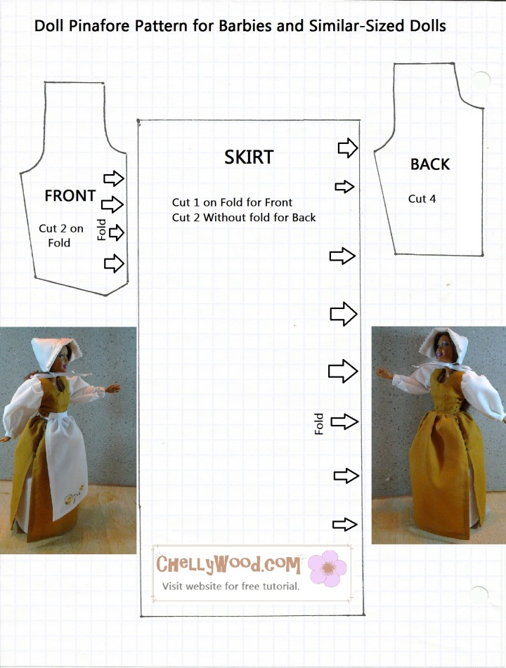 Pattern for Barbie-sized doll's pinafore printable and downloadable for sewing projects