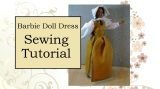 #BarbieDoll Dress #Sewing Tutorial for Old-Fashioned Pinafore — With Printable Doll Dress #Pattern