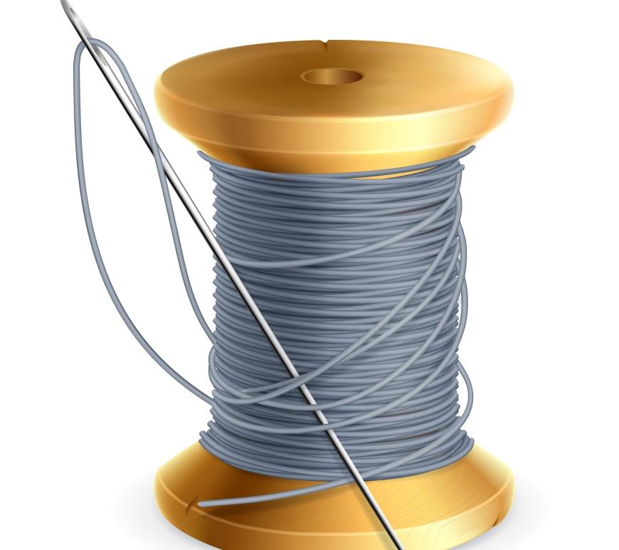 spool of grey thread