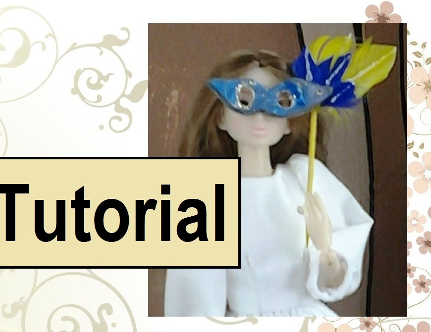 Video tutorial about how to make a Harlequin mask for a Barbie-sized doll