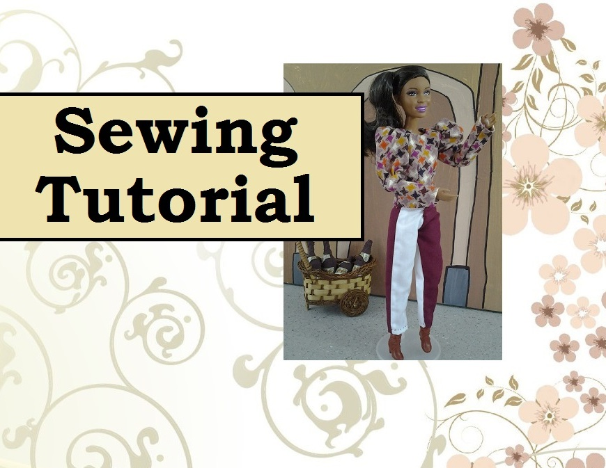 "Image of Barbie doll in harlequin costume with the words ""sewing tutorial"" overlaid."