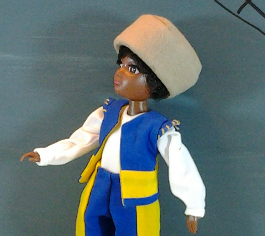"""Image of World of Love """"Soul"""" doll in renaissance doublet (vest) with white long-sleeved shirt and simple hat"""