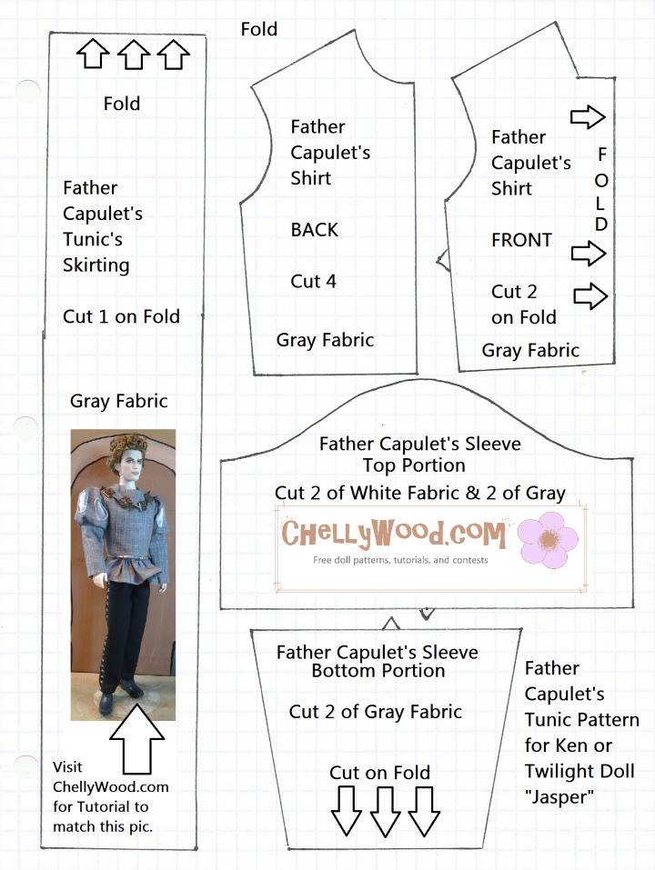 """Sewing Pattern for a Renaissance Tunic to fit Twilight Barbie Doll """"Jasper"""""""