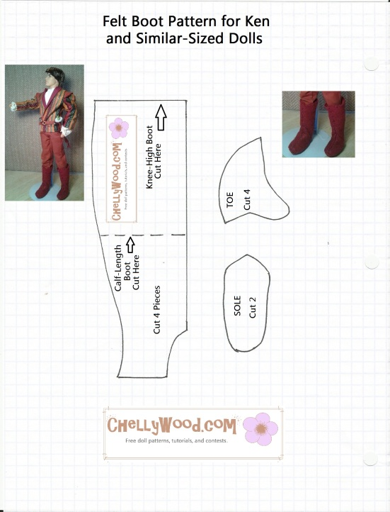 Image of Ken doll wearing boots made of felt; also there's an image of the boot pattern which is free to download from ChellyWood.com