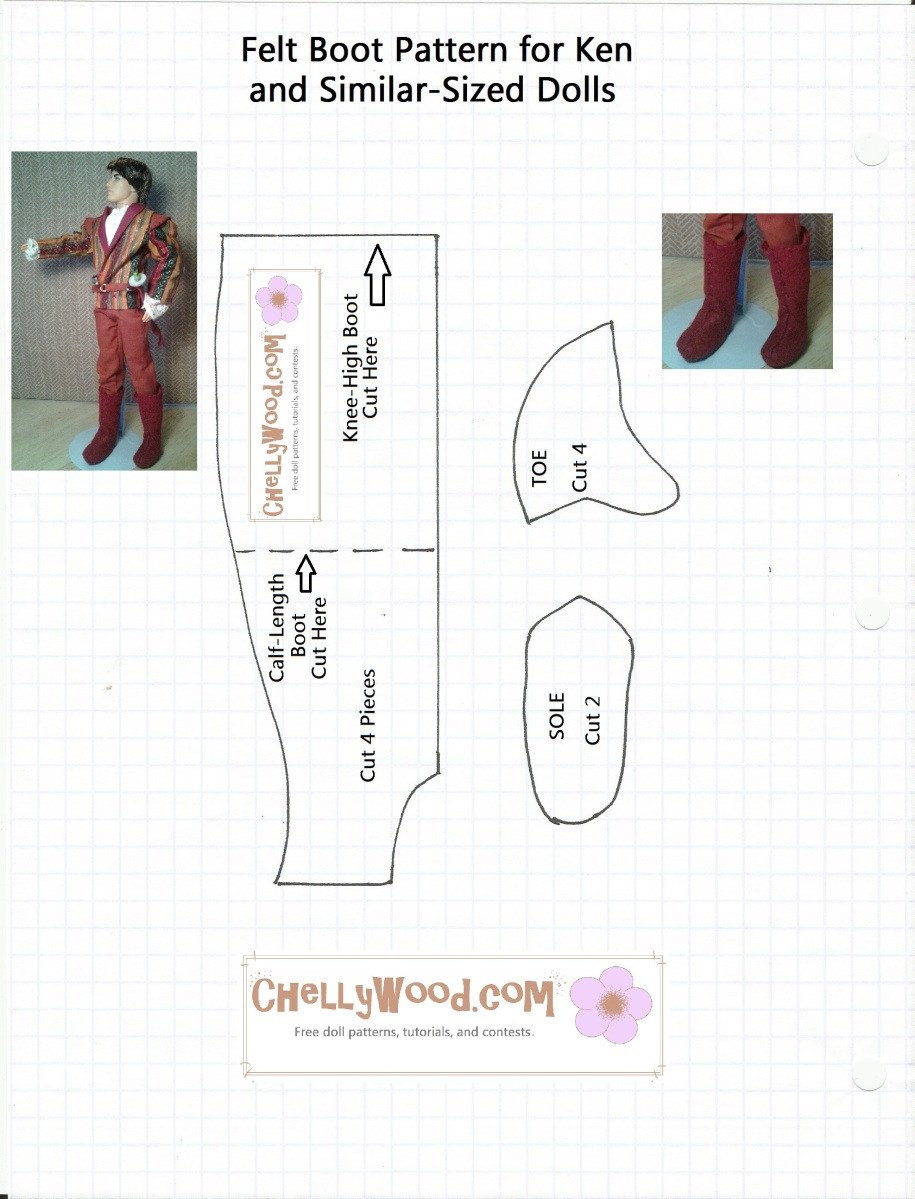Boot Sewing Pattern For Ken Dolls Chelly Wood