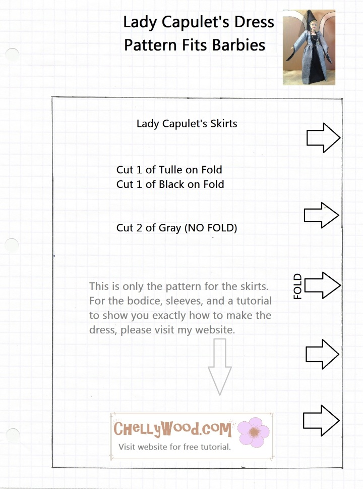 Image of a skirt pattern for sewing, crochet, or knitting, to be downloaded and printed