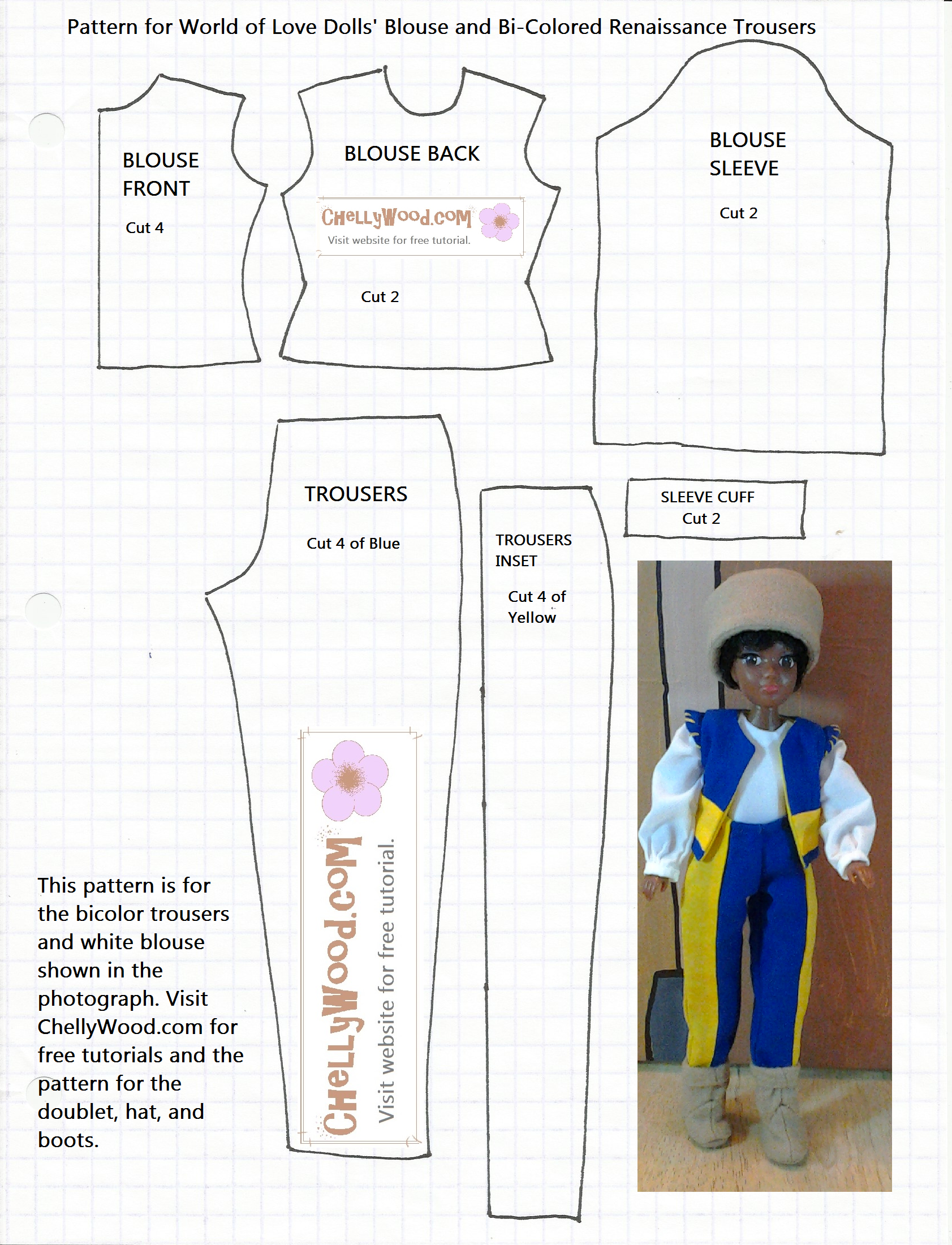 Free printable dollclothes patterns for 8 inch dollhouse dolls shirt and pants pattern jeuxipadfo Gallery