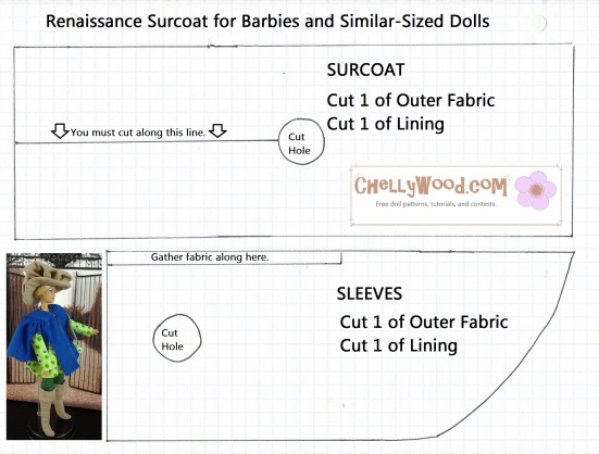 Image of a Sewing Pattern for a Barbie Doll Coat to Be Sewn or Crocheted or Knitted