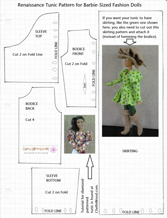 Image of a Downloadable Pattern for a Barbie Shirt Top Tunic Renaissance Style top Tunic Shirt