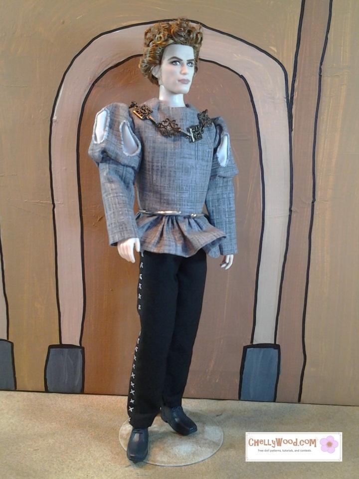 Image of Twilight Jasper doll wearing renaissance clothing with slashed sleeves and skirting.