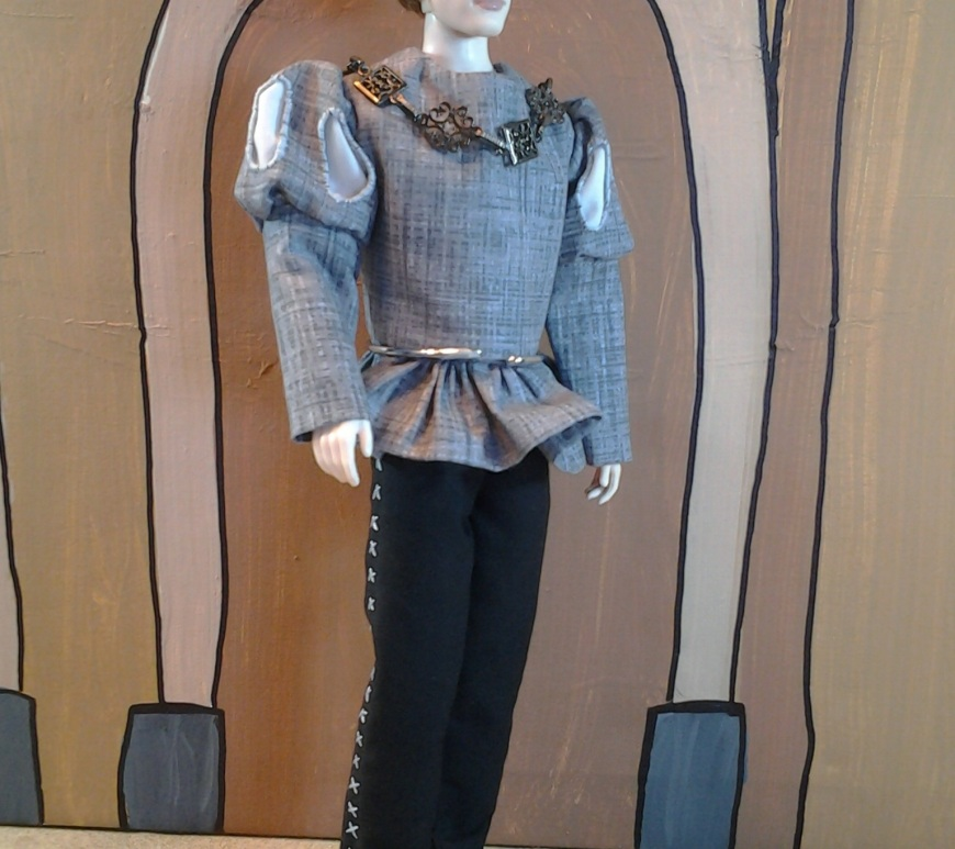 Image of Twilight Jasper doll wearing renaissance clothing with slashed sleeves and skirting.