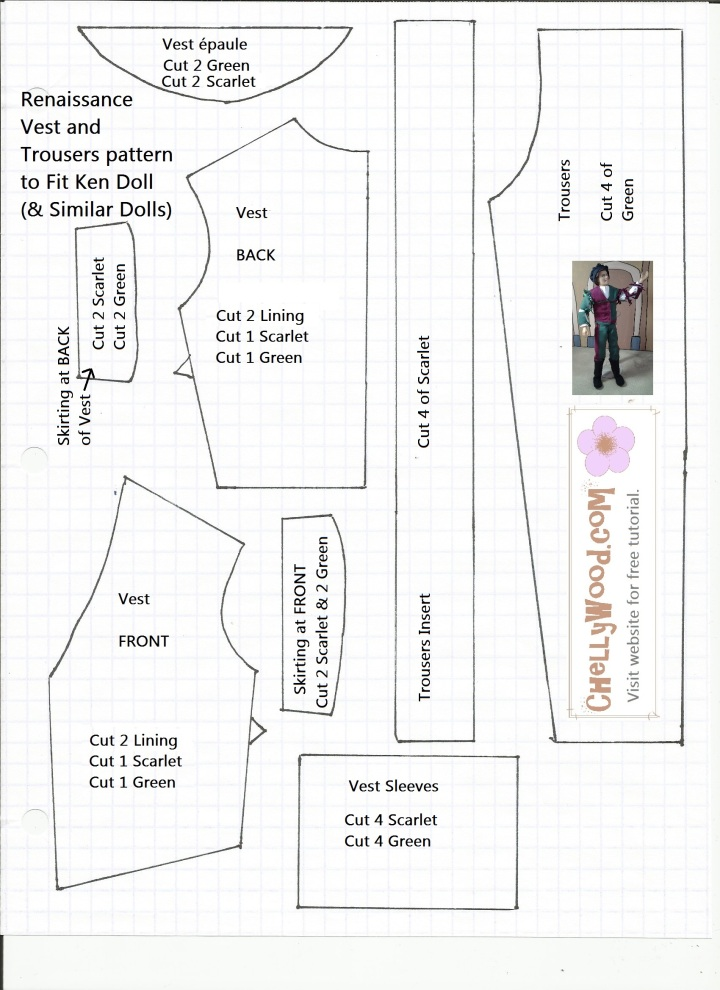 Sewing Pattern for a Renaissance Doublet and Trousers to Fit Ken Dolls
