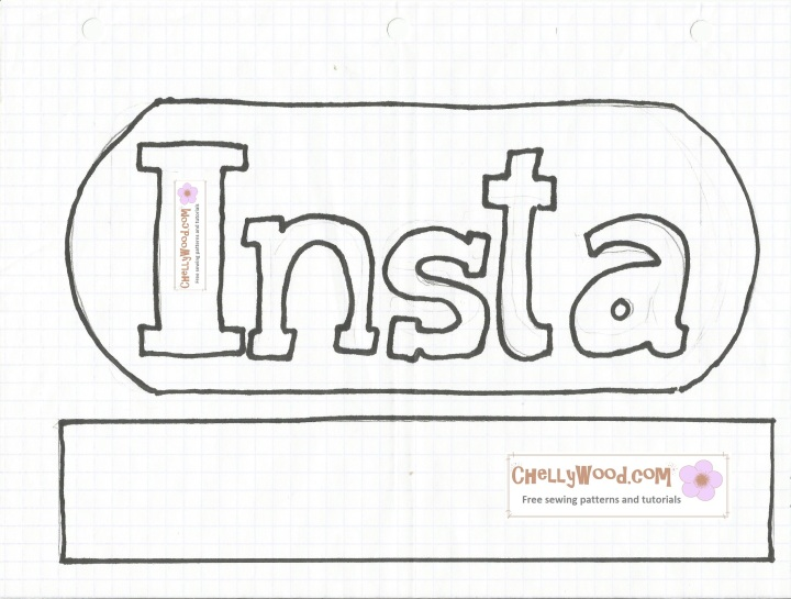 Image of letters that read INSTA for sewing an Instagram logo pillow