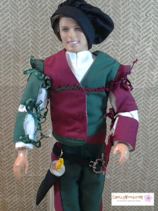 Image of Ken doll in muffin cap and Renaissance doublet