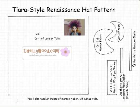 Image of fancy tiara-style doll hat pattern that fits Barbie dolls.