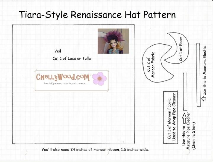 Image of fancy tiara-style doll hat pattern that fits Barbie dolls.