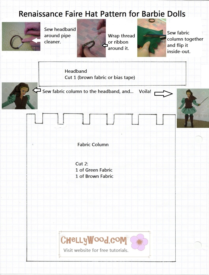 Image of Sewing Pattern for Renaissance Faire style hat for Barbie dolls