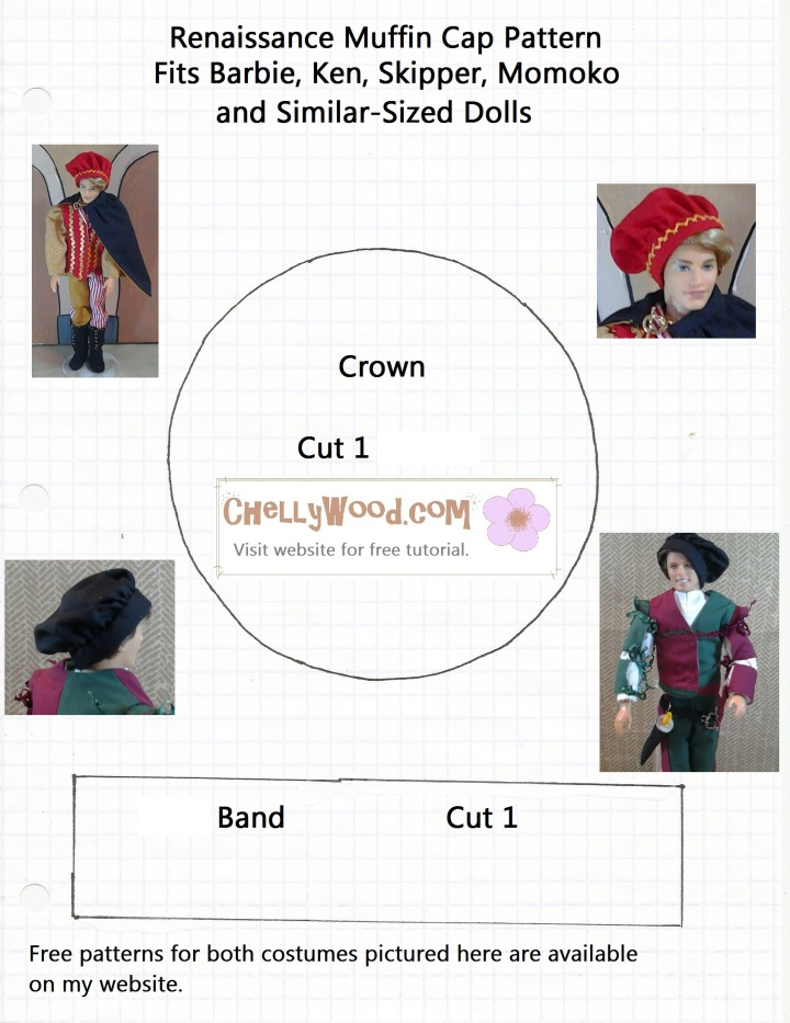 Pattern for making a Renaissance style muffin cap for Ken dolls or Barbie dolls