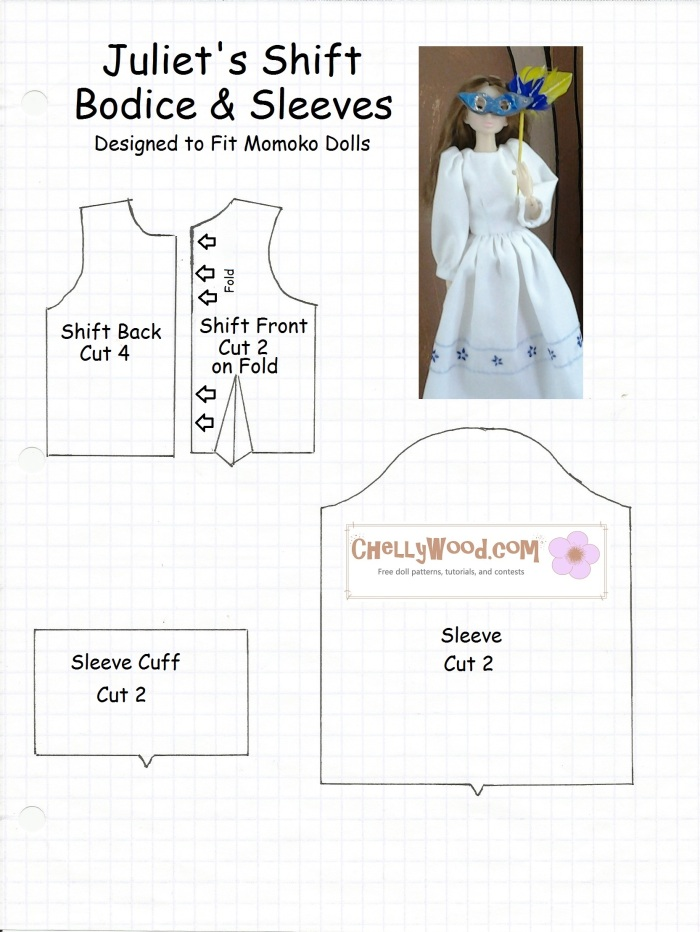 Image of sewing pattern for the bodice of a dress that fits Momoko, Pullip, and Blythe dolls