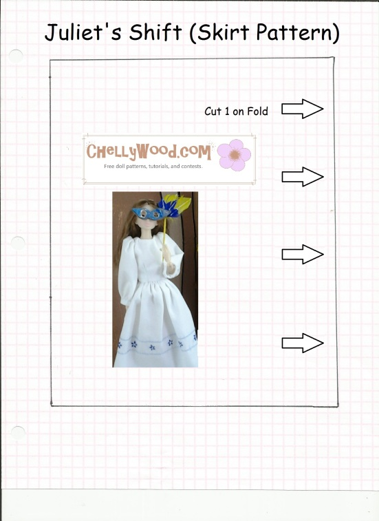 Image of a skirt pattern that fits Momoko, Pullip, or Blythe dolls