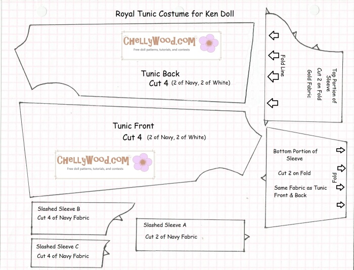 Image of a royal tunic pattern for Ken doll