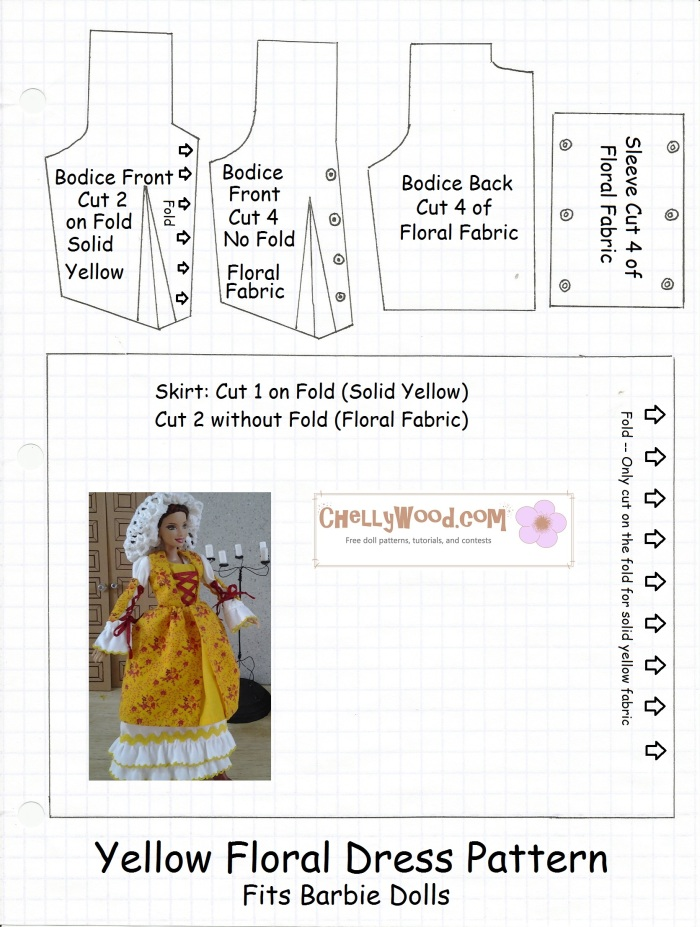 Image of bodice and skirt patterns for Barbie dolls
