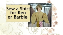"""Image of Ken doll dressed in puffy-sleeved Renaissance shirt with overlapped words stating """"Sew a Shirt for Ken or Barbie"""
