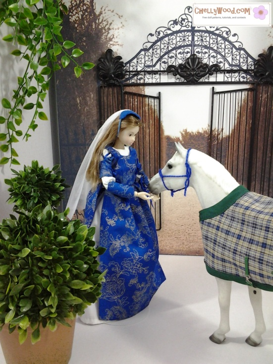 Image of Momoko doll with hand extended below a Breyer horse's muzzle