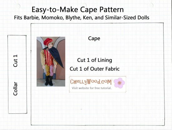 Pattern for sewing an easy DIY doll cape