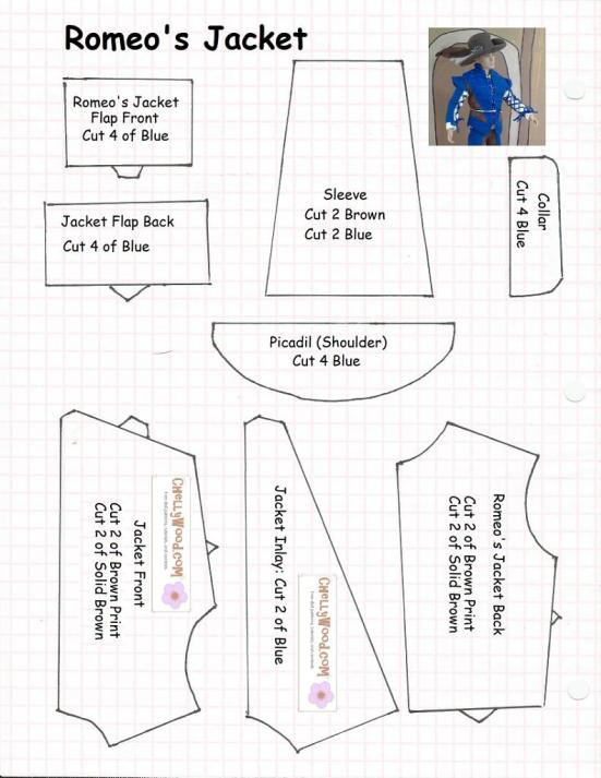 "Sewing pattern for making a ""Romeo Jacket"" for a Ken doll."