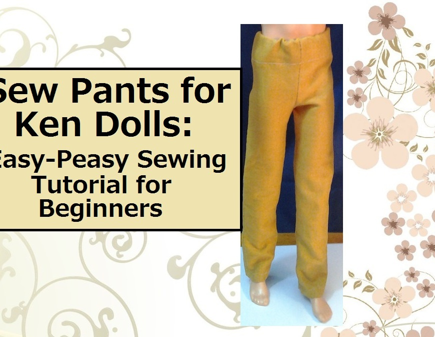Sew Pants for Ken dolls (image of ken doll wearing mustard-colored pants)