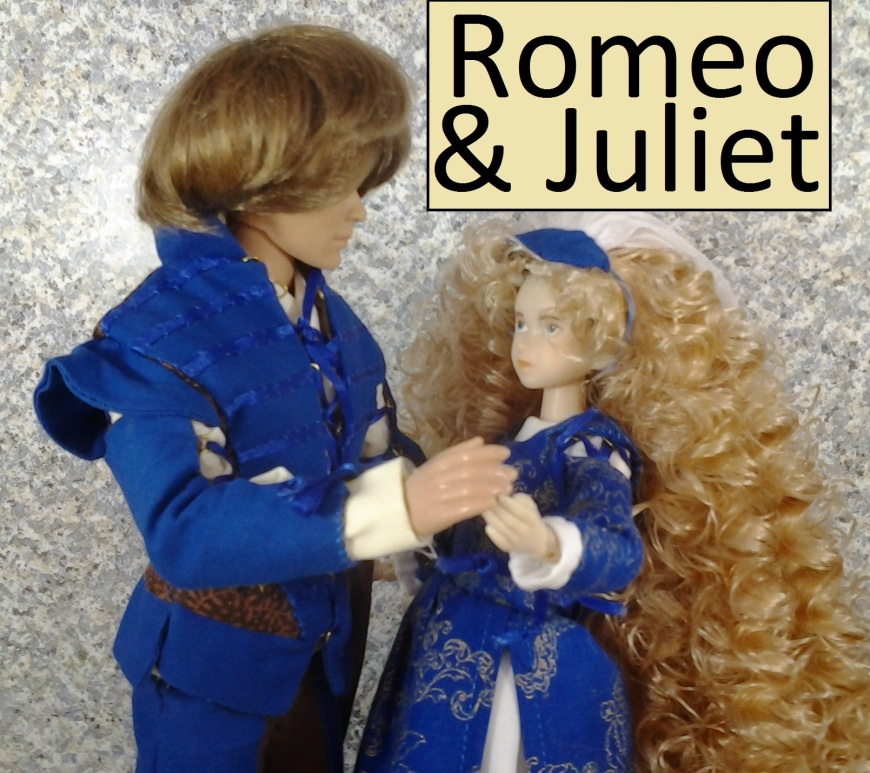 "Image of two dolls standing hand in hand with the words ""Romeo and Juliet"" above them"