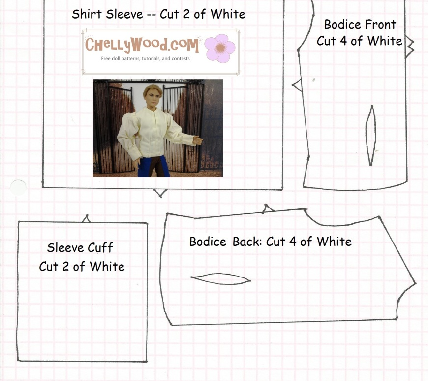Image of a sewing pattern with Ken doll superimposed, wearing a romantic shirt