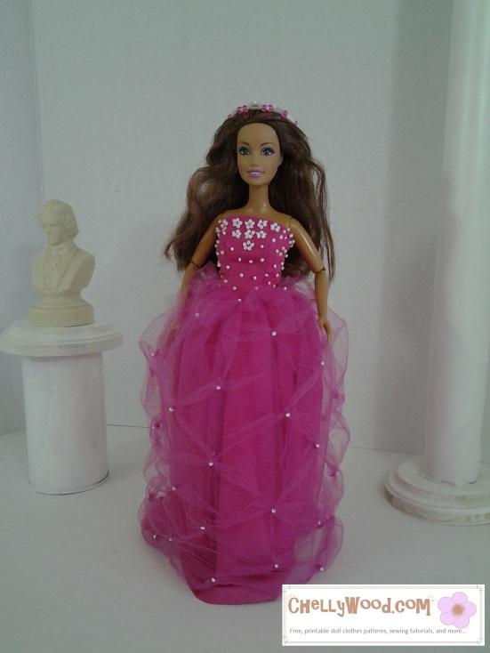 Image of Barbie doll in quinceañera dress.