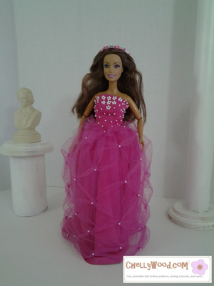 Image of Barbie doll in quinceañera dress.