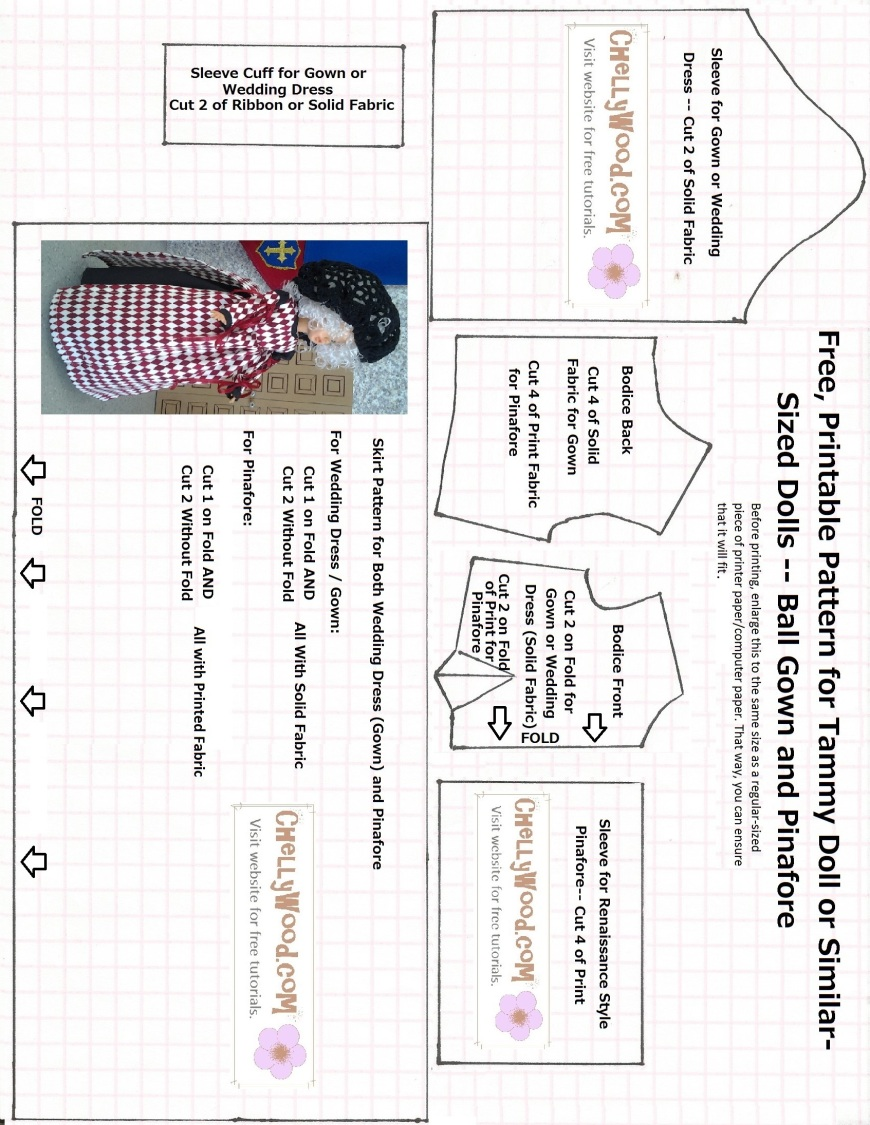 Printable sewing pattern for doll dress and pinafore