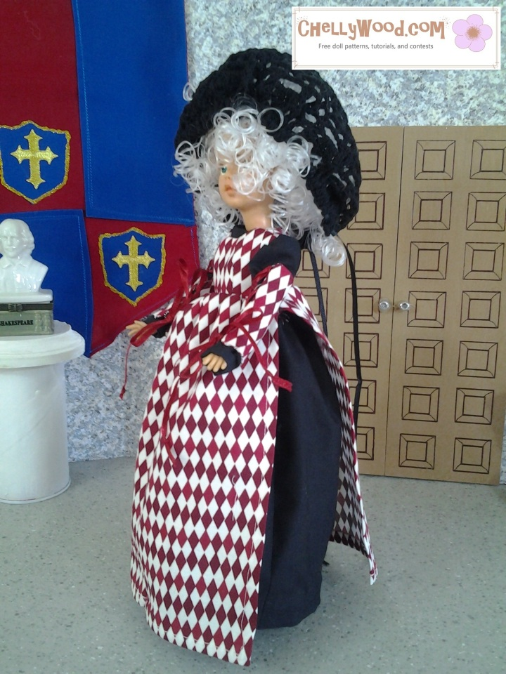 Image of Tammy doll in black dress with harlequin pinafore (renaissance style)
