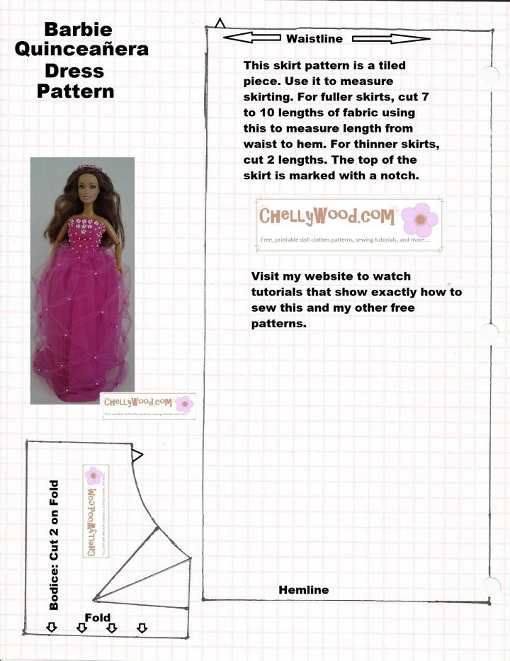 Image of a sewing pattern with bodice and skirt to make a Quinceañera dress for Barbie