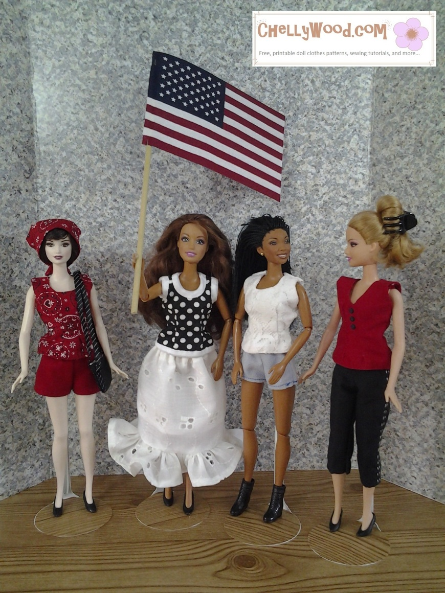 Image of four Barbie dolls dressed in handmade summer clothing. One holds an American flag.