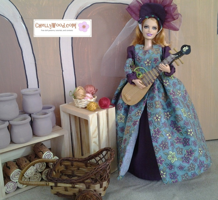 Image of Barbie doll in Renaissance gown playing stringed instrument in a market square